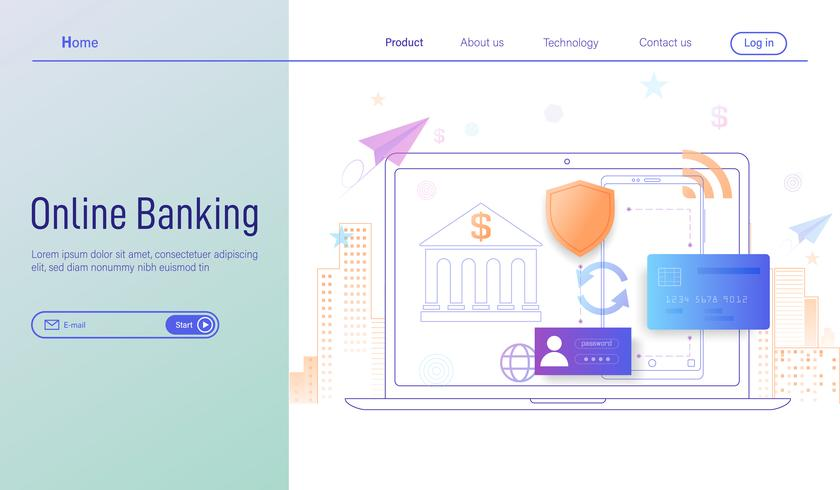 Online banking modern modern flat design concept, Landing page of Online banking through smartphone and laptop vector.