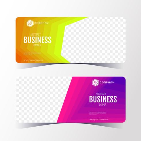 Colorful Abstract business banner template, horizontal banner cards set. vector
