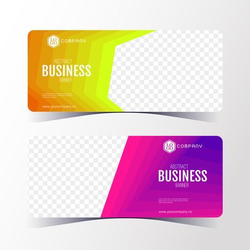 Modèle de bannière coloré abstrait business, jeu de cartes bannière horizontale. vecteur