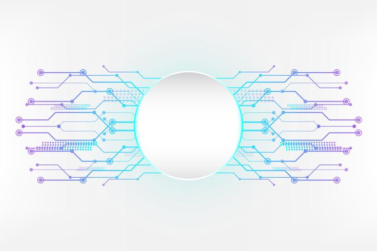 Cyan white abstract technology background with circuit line concept and Circle empty space vector