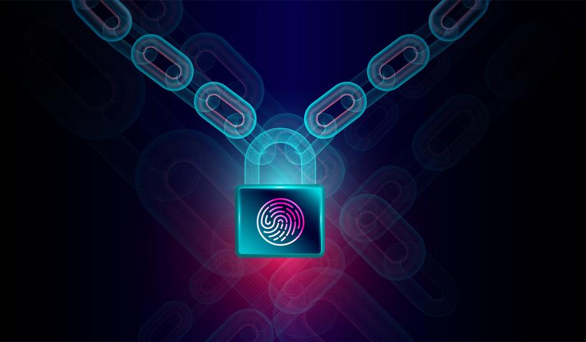 Block chain technology with high security fingerprint lock concept -3d rendering.Vector vector