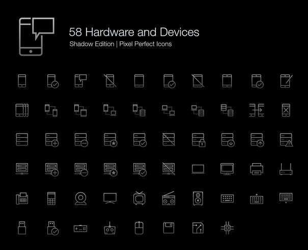 Hardware Mobile Phone Computer Devices Pixel Perfect Icons (line style) Shadow Edition.  vector