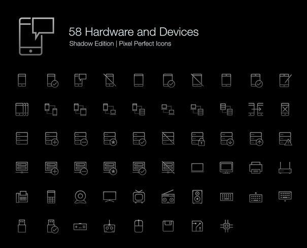 Hardware Mobiele telefoon Computerapparaten Pixel Perfect Icons (lijnstijl) Shadow Edition. vector