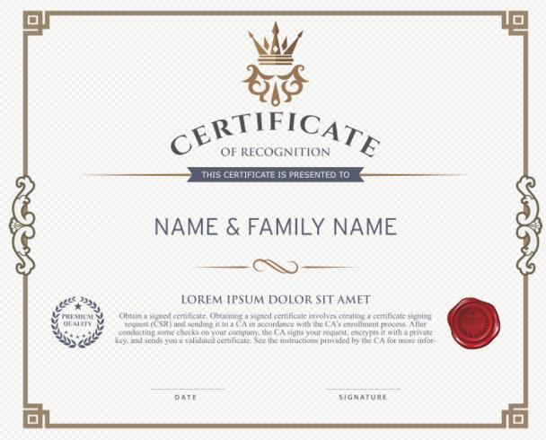 certificado de reconocimiento de plantilla de diseño
