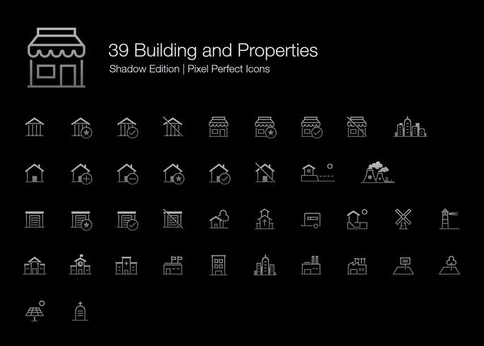Bâtiment et propriétés Pixel Perfect Icons (style de ligne) Shadow Edition. vecteur