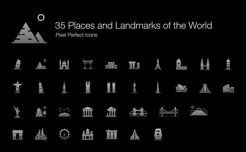 35 Places and Landmarks of the World Pixel Perfect Icons (Filled Style Shadow Edition).  vector