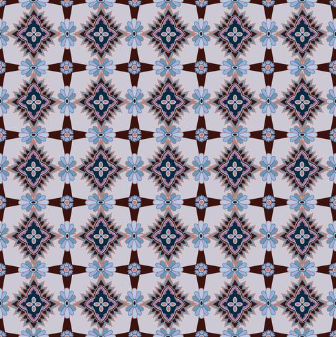 Seamless mosaic pattern Abstract floral ornament Oriental fabric texture vector