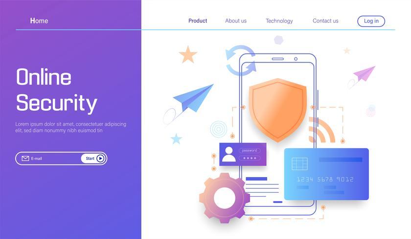 Tecnologia de segurança on-line, proteção de dados pessoais e seguro bancário moderno vetor de conceito de design plano