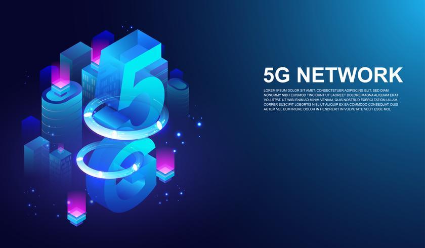 Sistema wireless di rete 5G, 5 ° telecomunicazione internet sul concetto di città intelligente Vettore. vettore