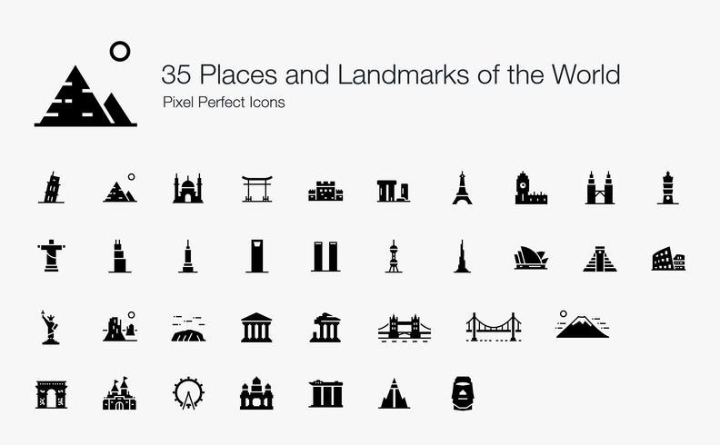 35 Lugares e Marcos do Mundo Ícones perfeitos de pixel (estilo preenchido).