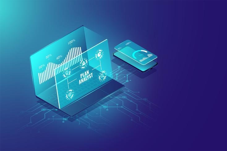 Affärsanalyssystem isometrisk designkoncept, managementmarknadsföring, undersökning av information för företag. Vektor illustration.