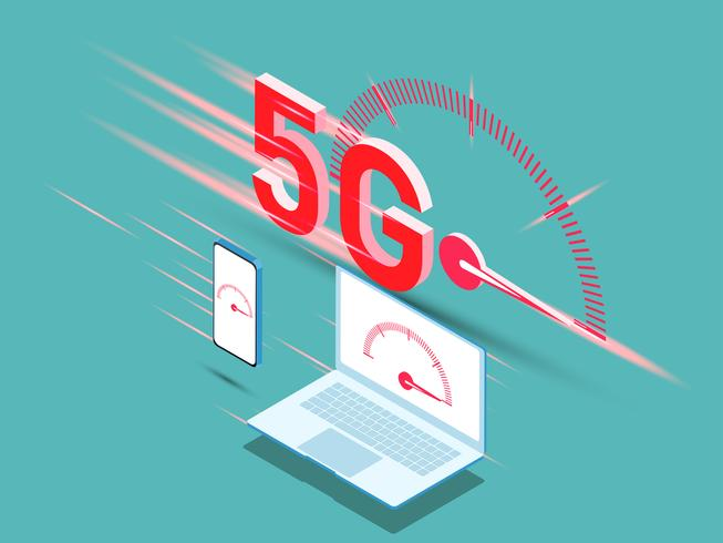 vector of new 5th generation of internet concept, speed of 5G network internet wireless.