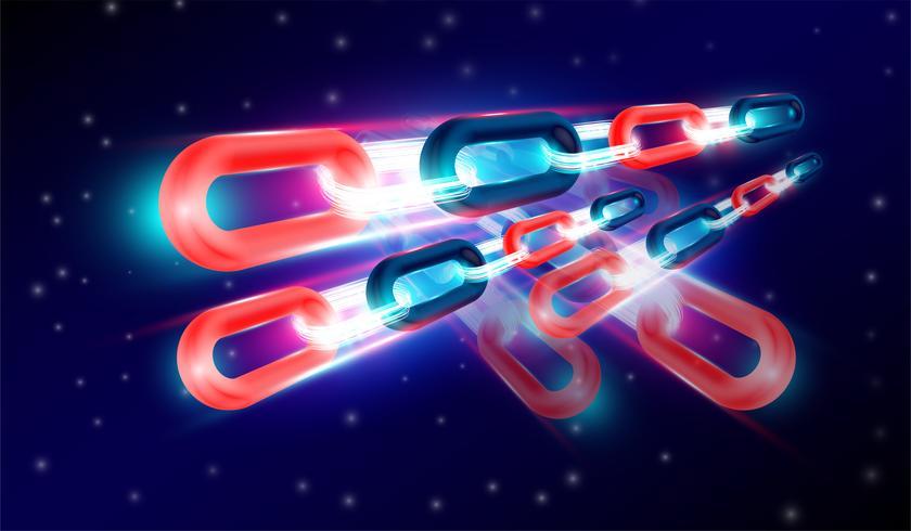 BlockChain-teknik med 3D-renderingskoncept, glödljuskedjor kopplade ihop och flygblad. Vektor