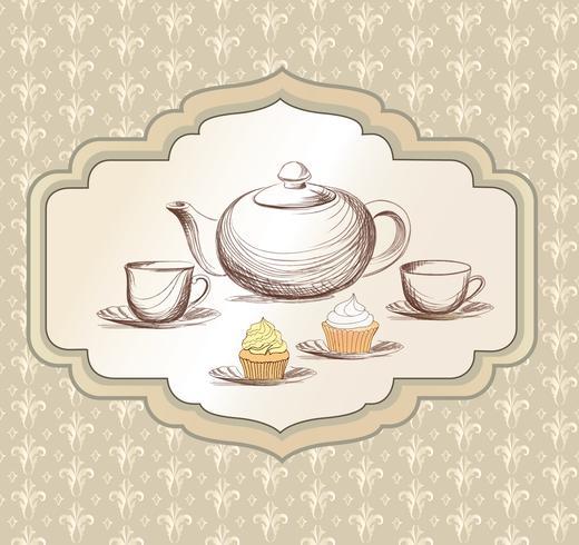 Taza de té, caldera retro tarjeta. Fondo vintage de la hora del té. Bebidas calientes