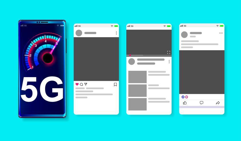5G hoge snelheid netwerk op online sociale media mockup op blauwe achtergrond Vector.