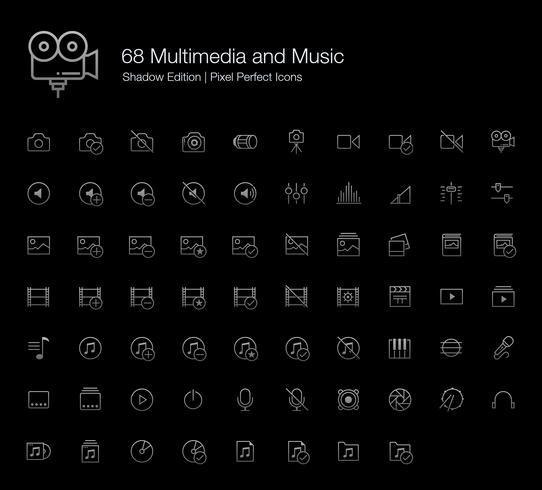 Multimedia und Musik Pixel Perfect Icons (Linienstil) Shadow Edition. vektor