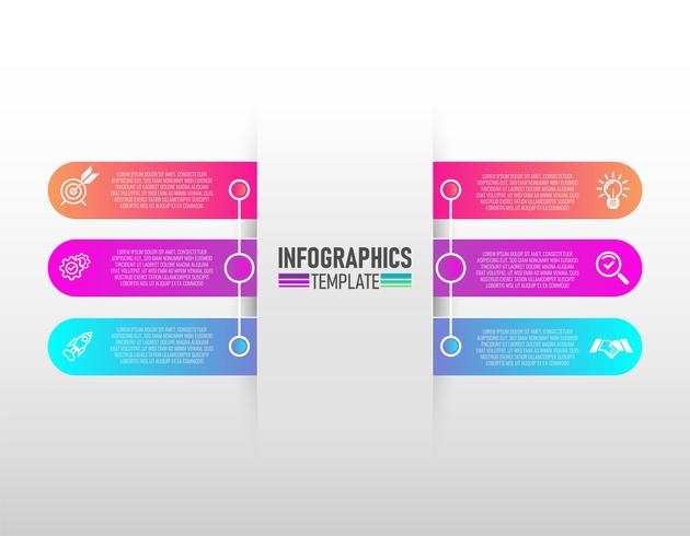 ícones do vetor e do mercado do projeto do infographics com vetor de 6 etapas.