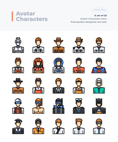 Detailed Vector Color Line Icons Set of People and Avatar. 64x64 Pixel Perfect and Editable Stroke.