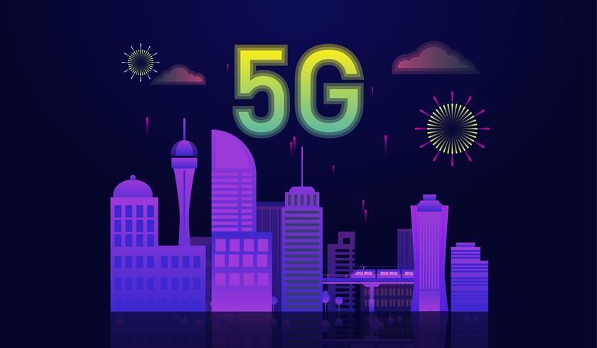 Internet 5g collegato al concetto di smart city, icona 5g in cima alla città.
