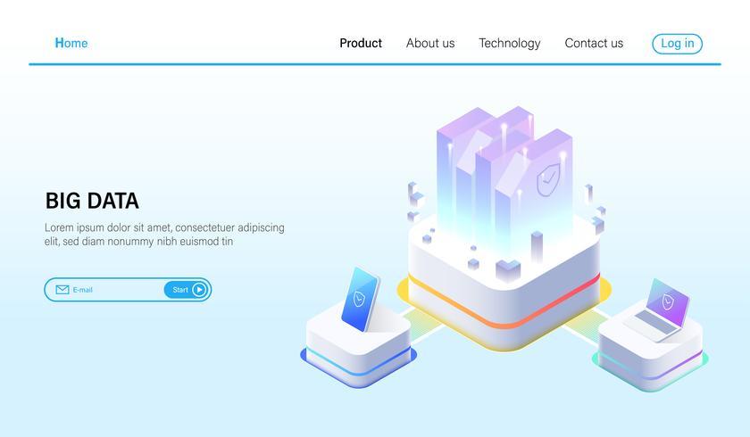 Isometrisch van Big data verwerking en data hosting server concept, datacenter, blockchain-technologie en cloud online opslag Vector.