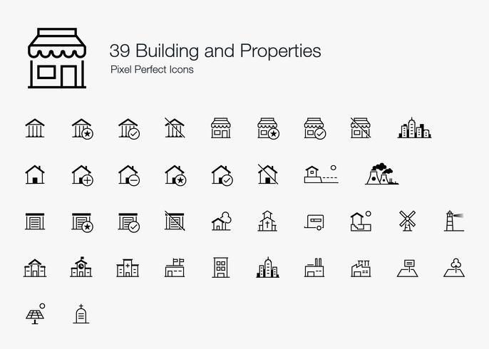 39 Bâtiment et propriétés Style de ligne Pixel Perfect Icons. vecteur