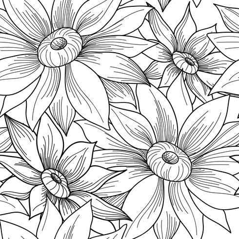Floral seamless pattern. Flower sunflower swirl background.