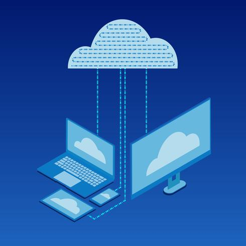 Cloud services Isometric flat icon design
