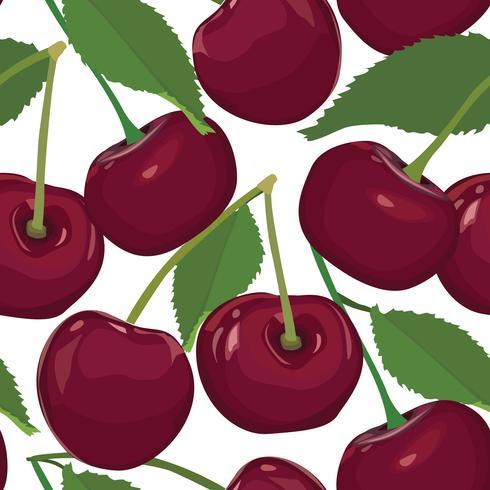 Cherry pattern. Berry desert seamless pattern. Fruit fresh food vector