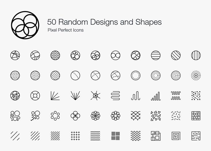 50 Disegni e forme casuali Icone perfette per pixel (stile della linea). vettore
