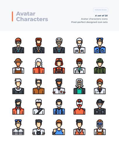Ausführliche Vektor-Farblinie-Ikonen eingestellt von den Leuten und vom Avatar. 64x64 Pixel Perfekter und bearbeitbarer Strich. vektor