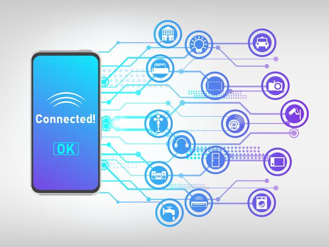 Vector of mobile phone connected with things and control it, internet of things abstract background.