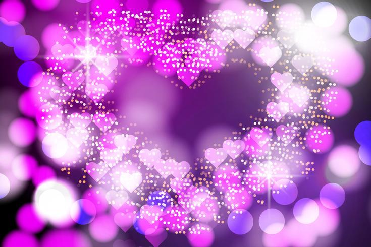 Il cuore astratto ha offuscato la luce, le luci di Bokeh e il vettore del fondo di scintillio