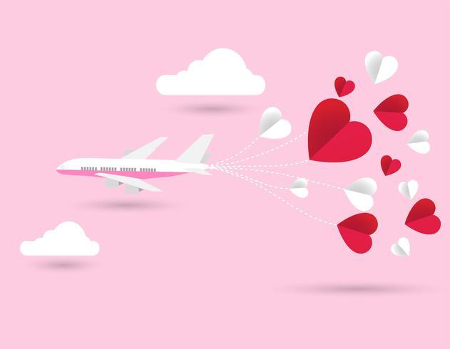 liefde Uitnodiging kaart Valentijnsdag vliegtuig en papier hart op abstracte achtergrond