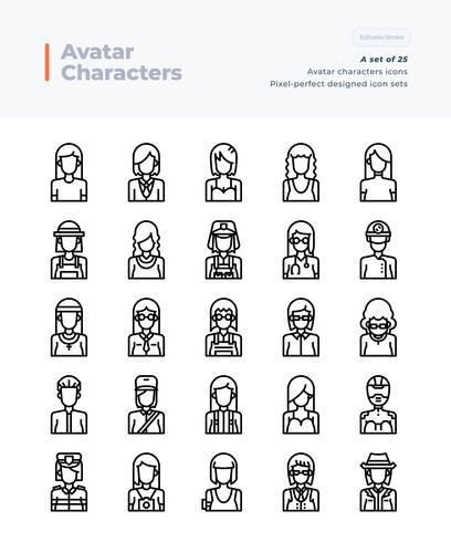 Vector de línea detallada iconos conjunto de personas y avatar. 64x64 Pixel Trazo perfecto y editable.