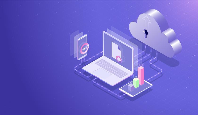 Isometric Cloud datalagringscenter och cloud computing koncept, Dataöverföring uppladdningsprocess med laptop, smartphone och surfplatta, databas värdserver Vector