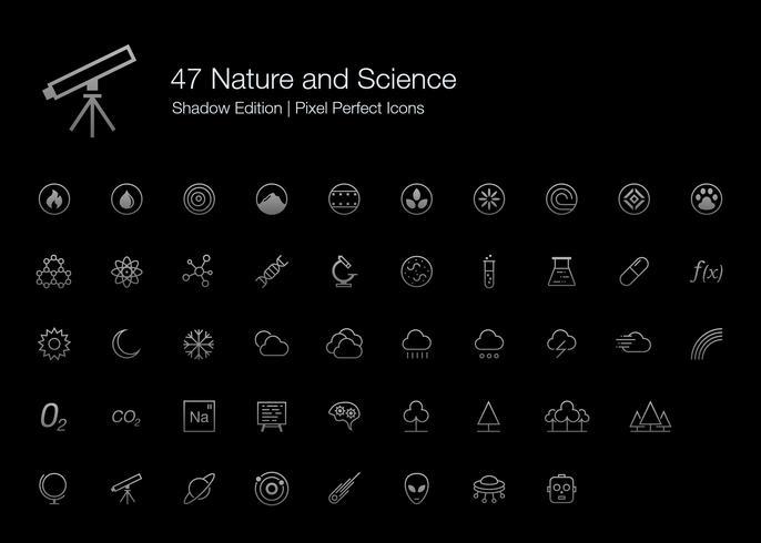 Natur och vetenskap Pixel Perfect Ikoner (linjestil) Shadow Edition. vektor