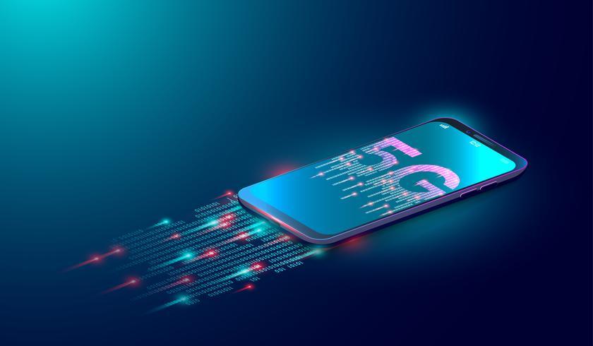 Fond de technologie Internet 5G, la prochaine génération de réseau mobile et de données numériques connectées avec un smartphone sur fond bleu. vecteur