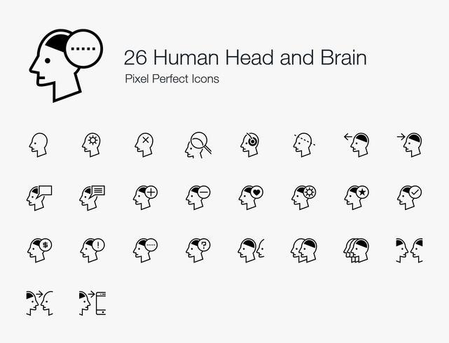 26 perfecte pictogrammen voor menselijke hoofd- en hersenpixels (lijnstijl). vector