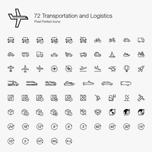 72 Transportations and Logistics Pixel Perfect Icons Line Style.  vector