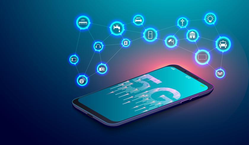 Red 5G en el teléfono inteligente e Internet IOT de las cosas con el concepto de iconos de vuelo. vector