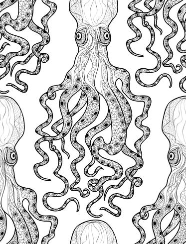 Octopus seamless pattern. Underwater seafood background vector