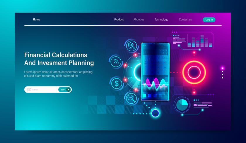 Progettazione piana moderna dei calcoli finanziari, tassa, reddito-risultato, statistica e pianificazione aziendale per l'investimento con il grafico sul concetto dello smartphone per il vettore del modello della pagina di atterraggio.