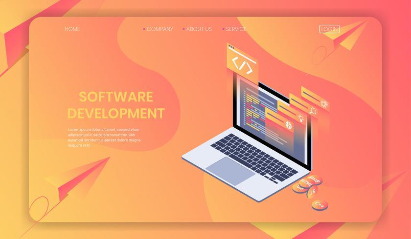 Conceito isométrico do desenvolvimento de software, programador web, linguagem de programação e vetor do código do programa.