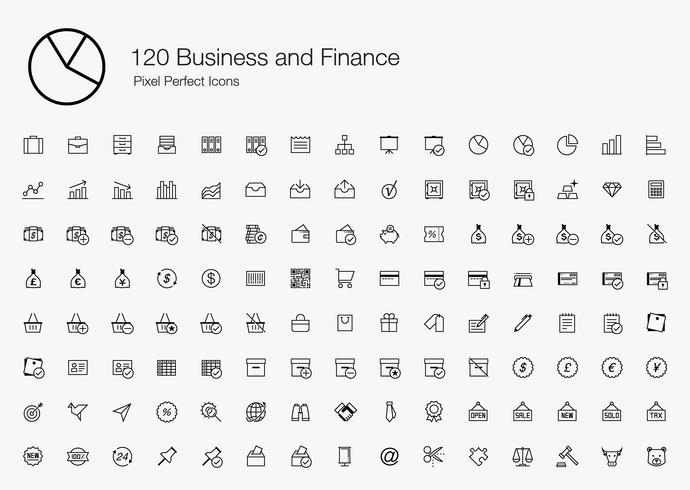 120 iconos perfectos de píxeles de negocios y finanzas (estilo de línea) vector