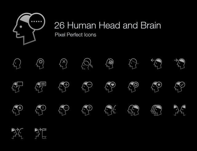 26 Icone perfette di testa umana e cervello Pixel (Line Shadow Edition). vettore