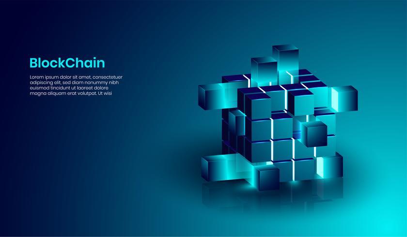 Concepto de tecnología isométrica de blockchain y criptomoneda, forma realista de blockchain conectada entre sí. vector