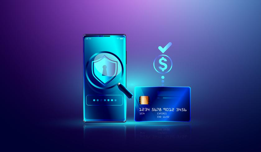Online payment via credit card protection on smartphone concept. Electronic bill, secure online shopping pay through smartphone and internet banking vector