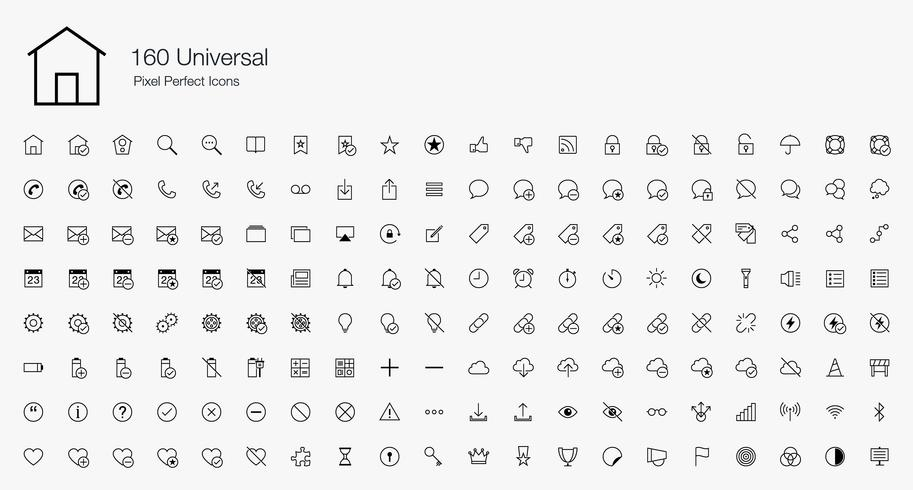 160 Universal Pixel Perfect Icons Line Style. vector
