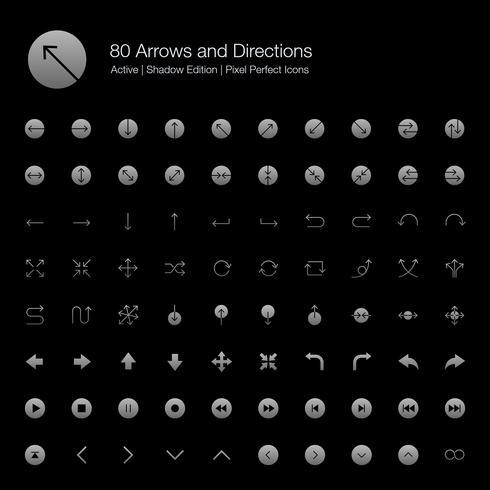 80 Pijlen en richtingen Pixel Perfect-pictogrammen (Filled Style Shadow Edition).
