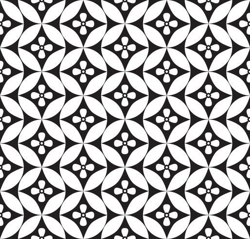 Abstract floral ornament. Geometric line seamless pattern vector